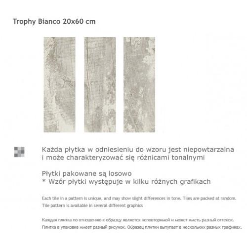 Paradyz Ceramika Trophy Bianco 20x60 gres padlólap