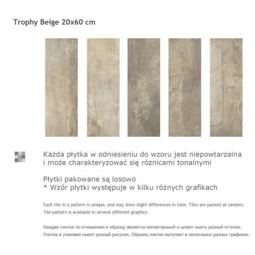Paradyz Ceramika Trophy Beige 20x60 gres padlólap