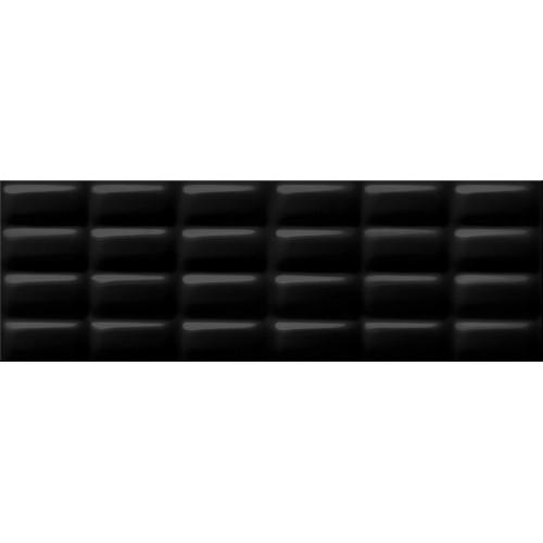 Cersanit Pret-a-Porter Black Glossy Pillow STR 25x75 csempe
