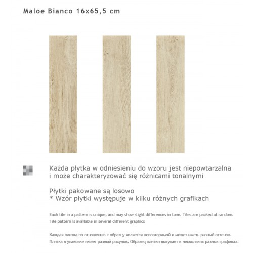 Paradyz Ceramika Maloe Bianco 16x65,5 gres padlólap